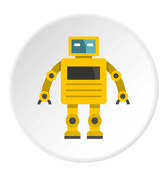 Yellow humanoid robot icon circle vector