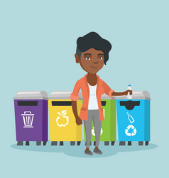 Young african woman throwing out plastic bottle vector