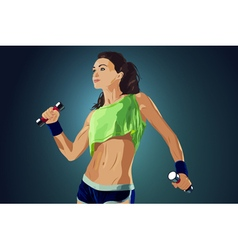 Young sports sexy fitness woman vector