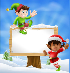 christmas characters and sign vector image