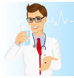 doctor offering a pill with glass of water vector image