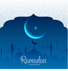 ramadan kareem beautiful mosque scene background vector image vector image