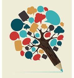 Social media concept pencil tree vector image vector image