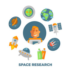 space research promo poster with spaceman and vector image