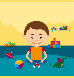 boy sitting on floor with toys vector image vector image