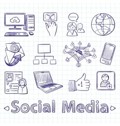 Hand drawn social media icon set vector image