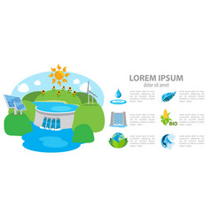 isometric hydroelectric power station dam vector image