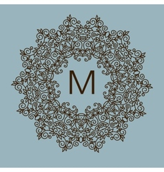 Monogram design floral outline frame or vector image vector image