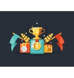 Pedestal with gold cup and medals vector image vector image