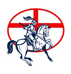 English Knight Riding Horse England Flag Circle vector image vector image
