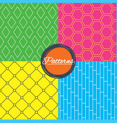 Rhombus hexagon and grid with circles textures vector