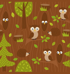 seamless pattern owl and hedgehog in forest vector image vector image