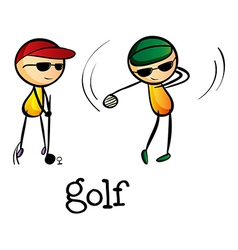 Stickmen playing golf vector image vector image