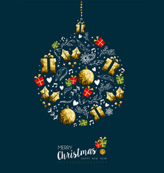 christmas and new year gold bauble greeting card vector image vector image