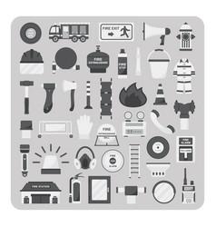 flat icons firefighting set vector image