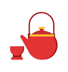 icon of red teapot and cup tableware for vector image