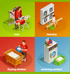 laundry isometric dry cleaning composition vector image vector image