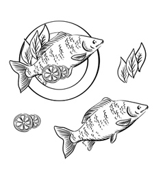 Smoked fish with lemon and fresh herbs vector image