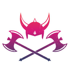 vikings helmet and axes vector image vector image