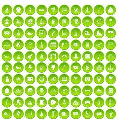 100 amusement icons set green circle vector