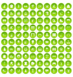100 amusement icons set green circle vector