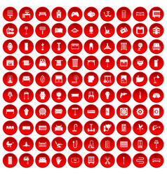 100 furnishing icons set red vector