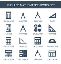 16 mathematics icons vector image