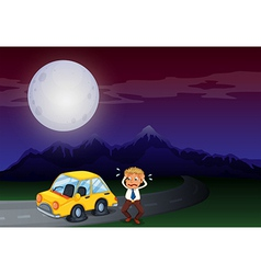 A boy with his car in flat tires vector