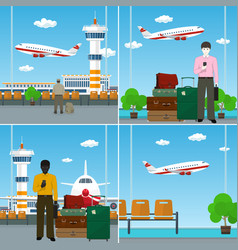 Air travelers with travelers baggage vector