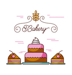 bakery birthday cakes dessert celebration vector image