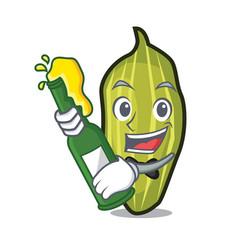 Beer cardamom mascot cartoon style vector