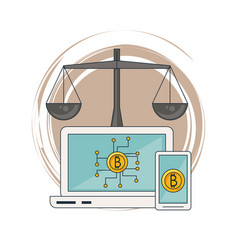 bitcoins on smartphone and laptop vector image