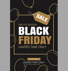 black friday sale ads banner gold and black color vector image