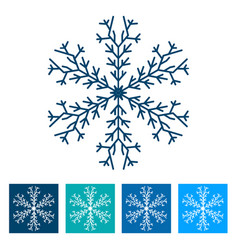 blue snowflake new year icon vector image