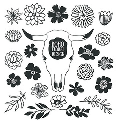 Boho black decorative plants and flowers vector