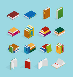 Books isometric icons set vector