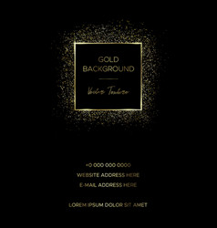 card template with square frame of gold particles vector image
