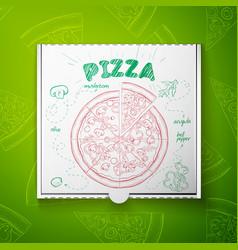 cardboard box with pizza mashroom vector image