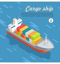 Cargo Ship Container Sailing in Sea vector