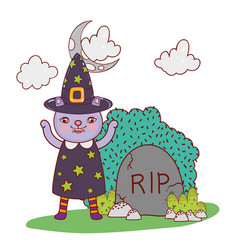 cat wearing witch costume with rip and bush vector image