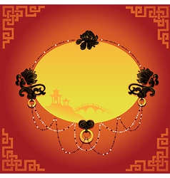Chinese decorative background with frame vector image