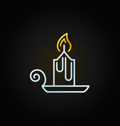 christmas old fashioned candle line icon vector image