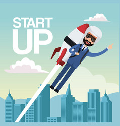 city landscape background star up business man vector image