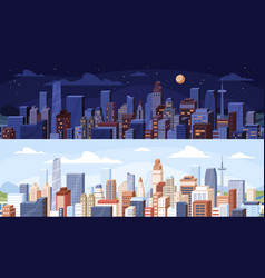 Cityscape at day and night time city panoramic vector