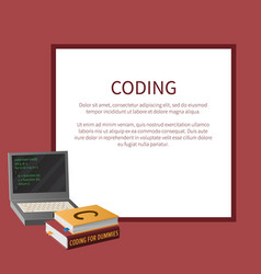 Coding banner with portable computer and textbooks vector