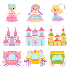 collection cute little princesses magic vector image