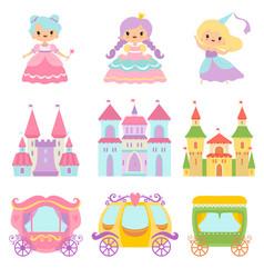 Collection cute little princesses magic vector