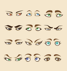 Collection of woman eyes vector