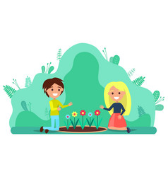 Couple people planting flowers gardening hobby vector
