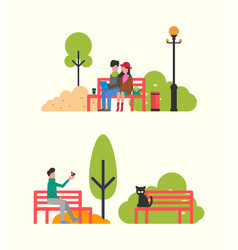 couple sitting on bench with notebook autumn park vector image